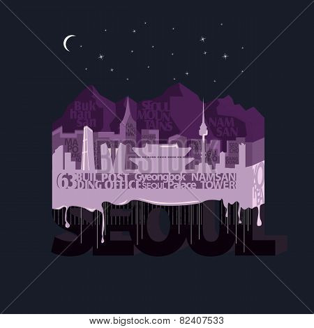 Night Seoul. Typography vector illustration.