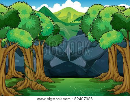 Illustration of a forest scene at daytime