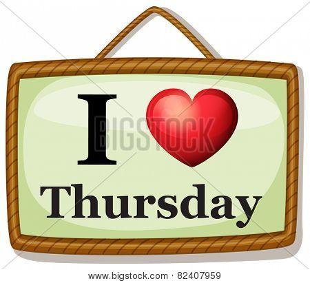 Illustration of I love Thursday banner