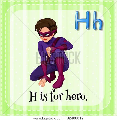 Illustration of a letter H is for hero