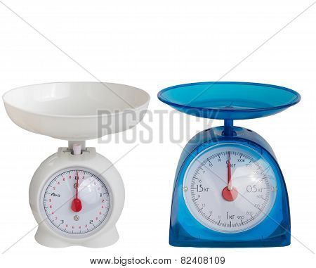 set kitchen blue scales isolated