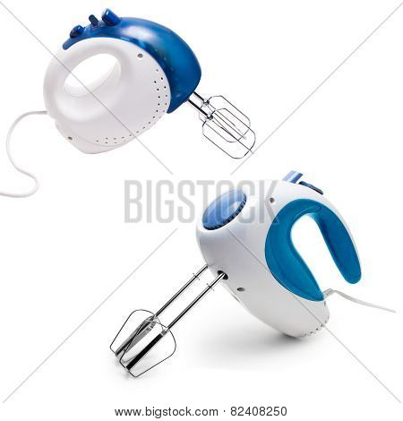 set kitchenware electric mixer blue Isolated