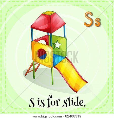 Illustration of a letter S is for slide