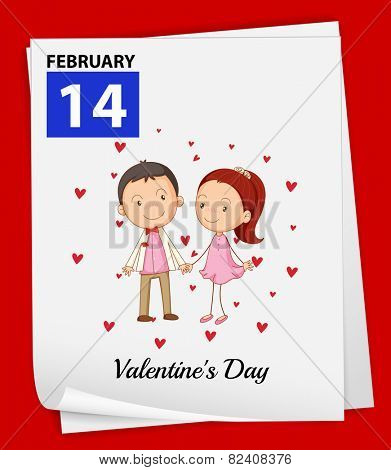 Illustration of February 14 is Valentine