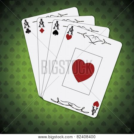 Ace Of Spades, Ace Of Hearts, Ace Of Diamonds, Ace Of Clubs Poker Cards Green Background