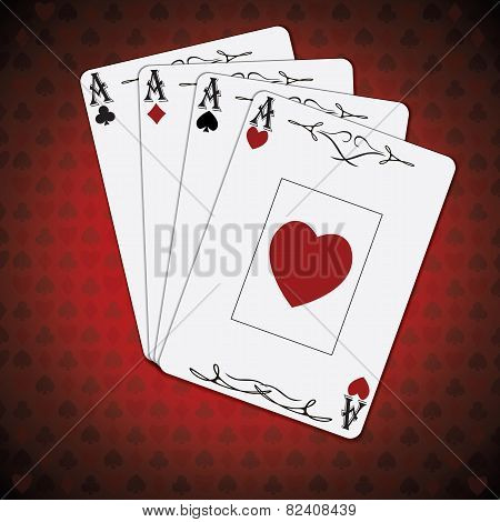 Ace Of Spades, Ace Of Hearts, Ace Of Diamonds, Ace Of Clubs Poker Cards Red White Background