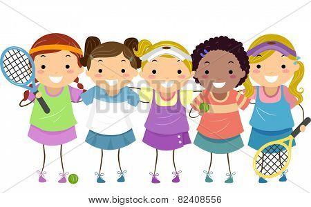 Stickman Illustration of Girls in Tennis Gear
