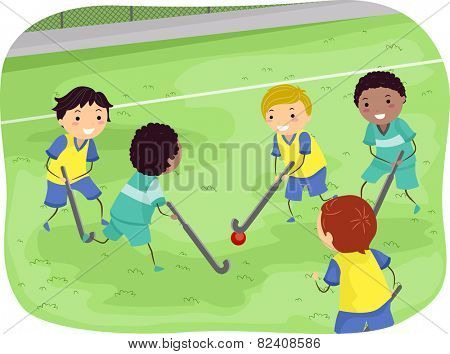 Stickman Illustration of Boys Playing Field Hockey