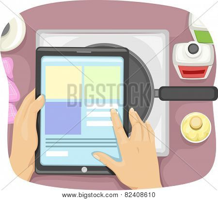 Cropped Illustration of a Cook Using a Tablet Computer to Check Recipes Online
