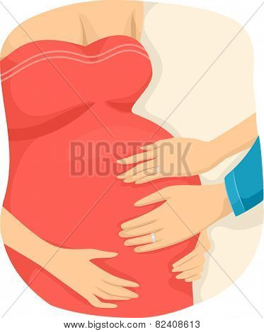 Illustration of a Couple Checking the Condition of the Surrogate Mother Bearing Their Child