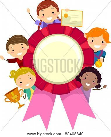 Stickman Illustration of Kids Holding Different Awards