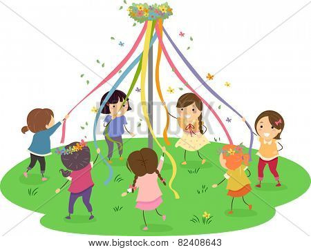 Stickman Illustration of Girls Dancing Around a Maypole