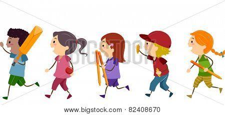 Stickman Illustration of Kids in Cricket Gear
