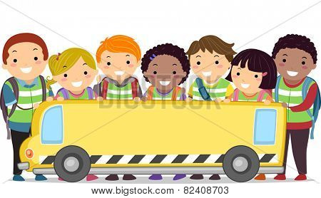 Stickman Illustration of Kids and Their Teacher Holding a Banner in the Shape of a Bus