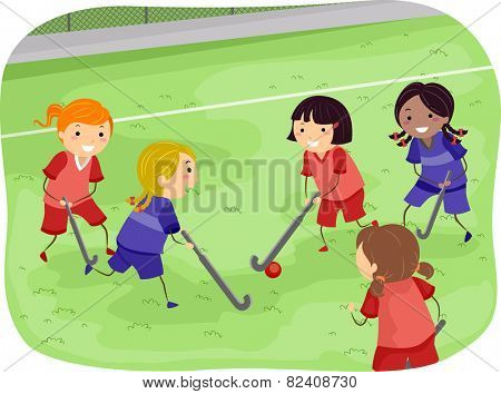 Stickman Illustration of Girls Playing Field Hockey