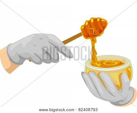 Cropped Illustration of Someone Scooping Honey Out of a Bowl