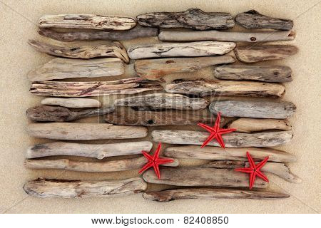 Red starfish and driftwood abstract on beach sand background.