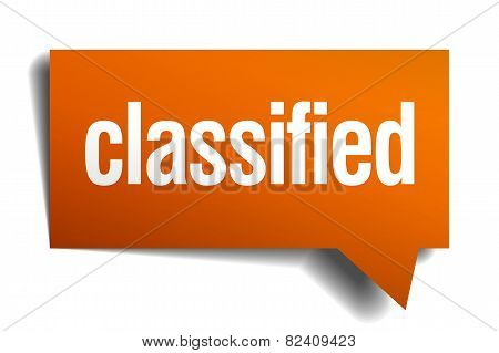 Classified Orange Speech Bubble Isolated On White