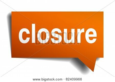Closure Orange Speech Bubble Isolated On White