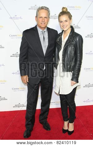 LOS ANGELES - JAN 8: Gregory Harrison, daughter at the TCA Winter 2015 Event For Hallmark Channel and Hallmark Movies & Mysteries at Tournament House on January 8, 2015 in Pasadena, CA