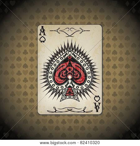 Ace Of Spades, Poker Cards Old Look Vintage Background
