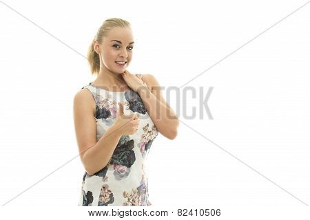 Smiling Young Woman Giving A Thumbs Up