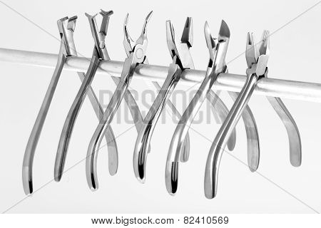 A set of six orthodontic pliers