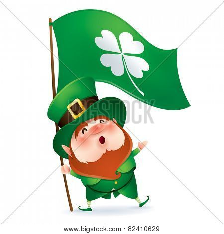 Leprechaun holding flag of clover symbol