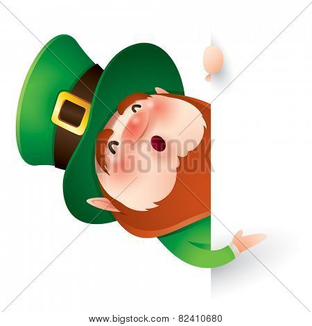 Leprechaun with big sign