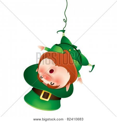 Leprechaun hanging upside down