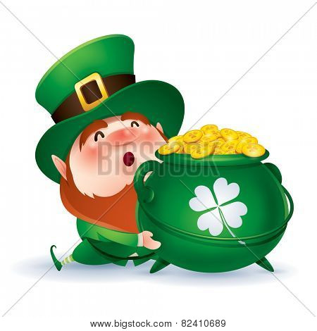 Leprechaun holding a pot of gold