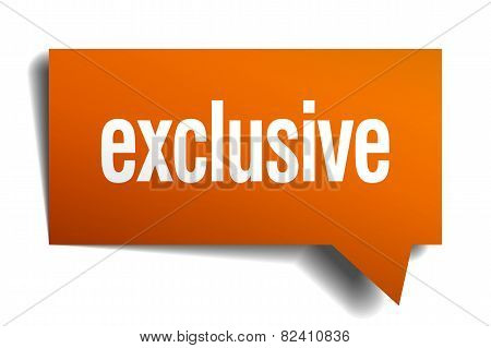 Exclusive Orange Speech Bubble Isolated On White