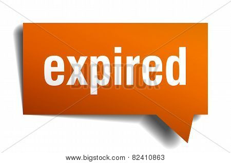 Expired Orange Speech Bubble Isolated On White