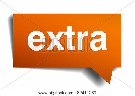 Extra Orange Speech Bubble Isolated On White