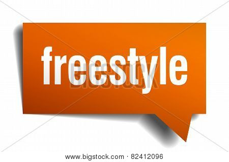 Freestyle Orange Speech Bubble Isolated On White