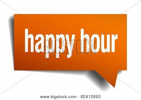 Happy Hour Orange Speech Bubble Isolated On White
