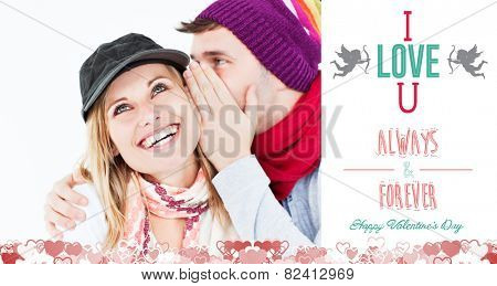 Handsome man with hat telling a secret to his laughing girlfriend against a white background against i love you message