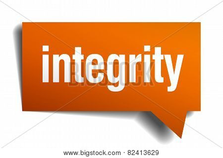 Integrity Orange Speech Bubble Isolated On White