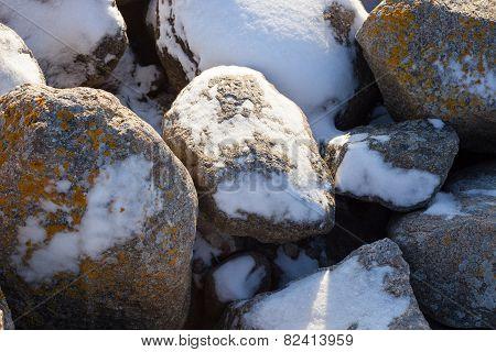 stones under the snow