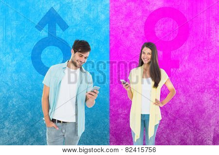 Happy casual woman sending a text against female gender symbol