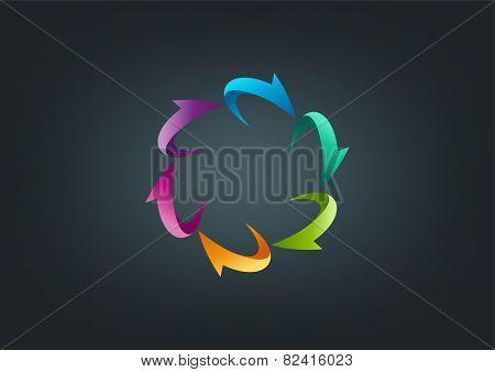 circular arrows logo