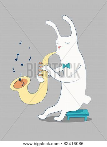 Cartoon white rabbit playing the saxophone. Vector illustration. Eps 10.