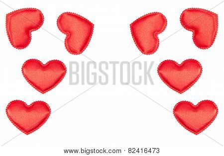 Frame Of Bright Red Fabric Hearts
