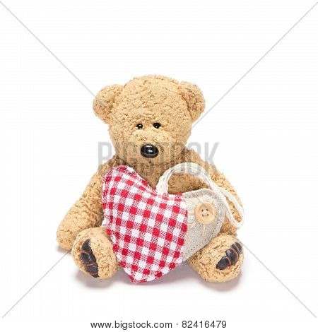 Charming Teddy Bear With Fabric Heart
