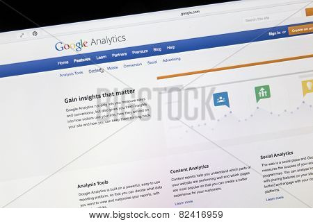 Ostersund, Sweden - Feb 5, 2015: Google analytics main page on a computer screen. Google Analytics is a service offered by Google that generates statistics about a website's traffic.