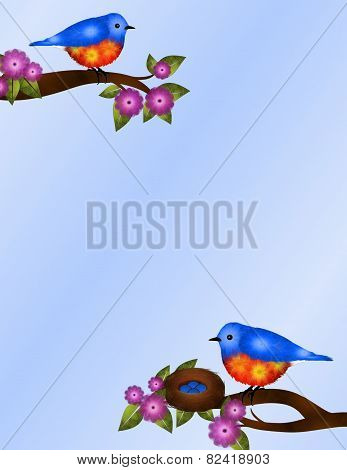 Pair of Bluebirds and Nest Stationery Design