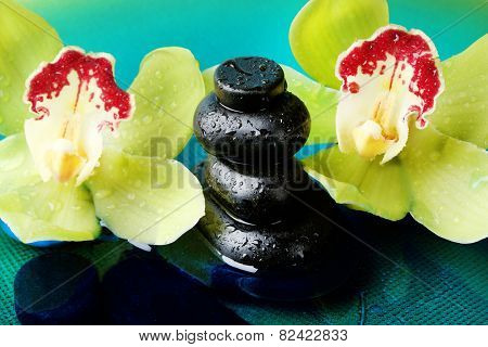 Spa stones with water drops and beautiful blooming orchid in water close-up