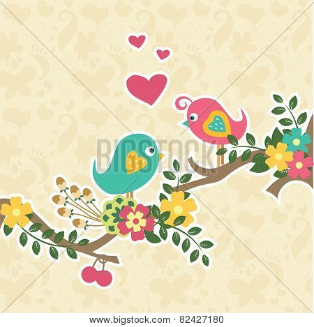 Retro Vintage Couple Bird