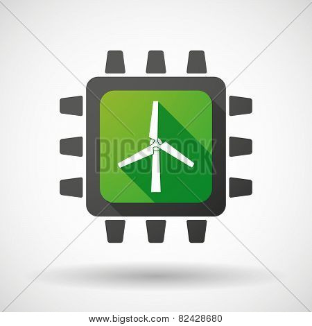 Cpu Icon With A Wind Generator