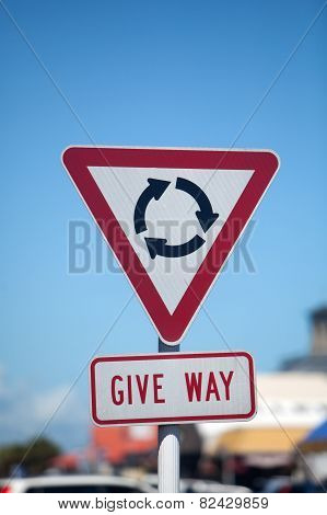 Roundabout Give Way Sign